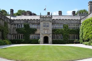 The Lanhydrock drive and manor house.