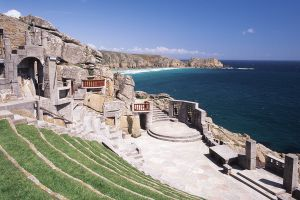 The Minack Theatre carved into the stone cliffs of Porthcurno.